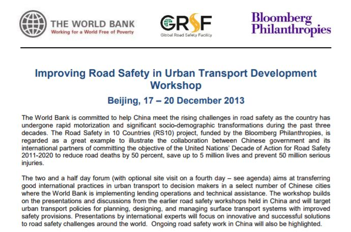 EVENT WRAP UP: Improving road safety in urban transport development workshop 2013