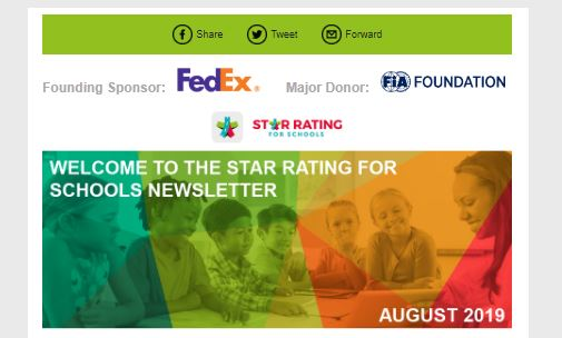 Latest Star Rating for Schools E-newsletter is now available (August 2019 Edition)