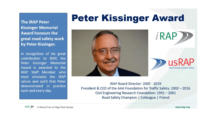 iRAP Peter Kissinger Memorial Award 2020 winner announced.