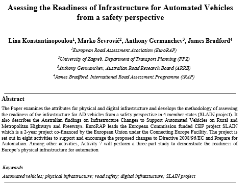 Readiness of Infrastructure for Automated Vehicles profiled internationally