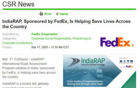 FedEx sponsored IndiaRAP to help save lives featured in CSR News